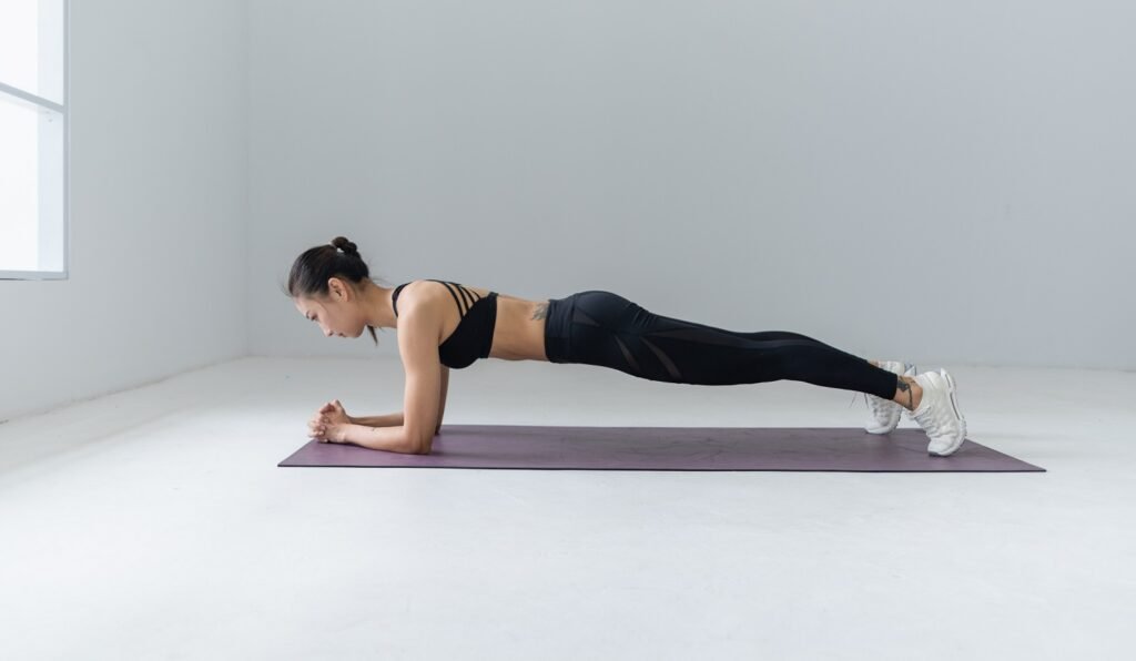 Plank hold for stronger core.